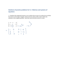 Solutions of practice problems for 5.1  Matrices and systems of  equations