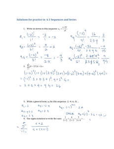  Solutions for practice in  6.1 Sequences and Series