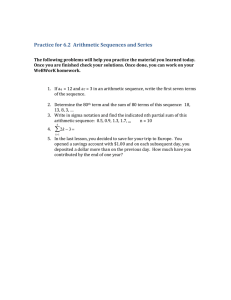 Practice for 6.2  Arithmetic Sequences and Series