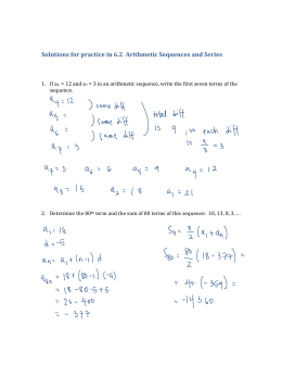 Solutions for practice in 6.2  Arithmetic Sequences and Series