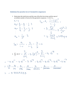 Solutions for practice in 6.3 Geometric sequences