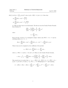 Math 5010 § 1. Solutions to Twelvth Homework Treibergs April 10, 2009