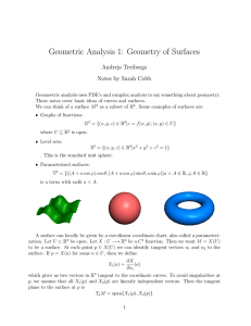 Geometric Analysis 1: Geometry of Surfaces Andrejs Treibergs Notes by Sarah Cobb