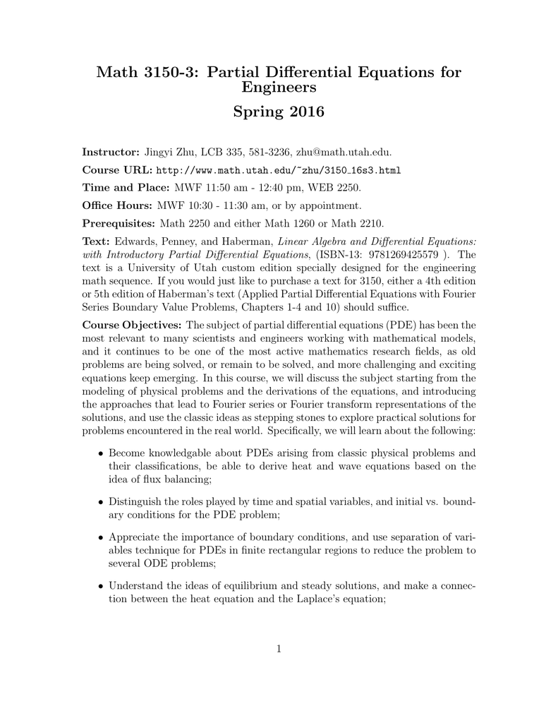 Math 3150-3: Partial Differential Equations for Engineers Spring 2016