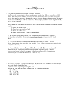 Math4020 Another Probability Worksheet or four different coins, like a nickel,