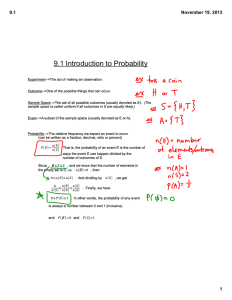 9.1 Introduction to Probability 9.1 November 19, 2013 1