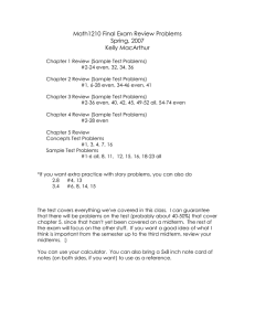 Math1210 Final Exam Review Problems Spring, 2007 Kelly MacArthur