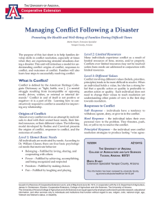 Managing Conflict Following a Disaster Cooperative Extension Level 2: Limited Resources