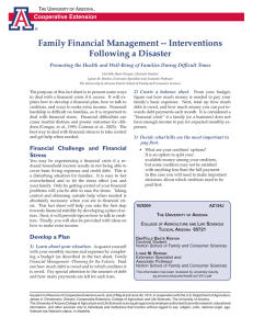 Family Financial Management -- Interventions Following a Disaster  Cooperative Extension