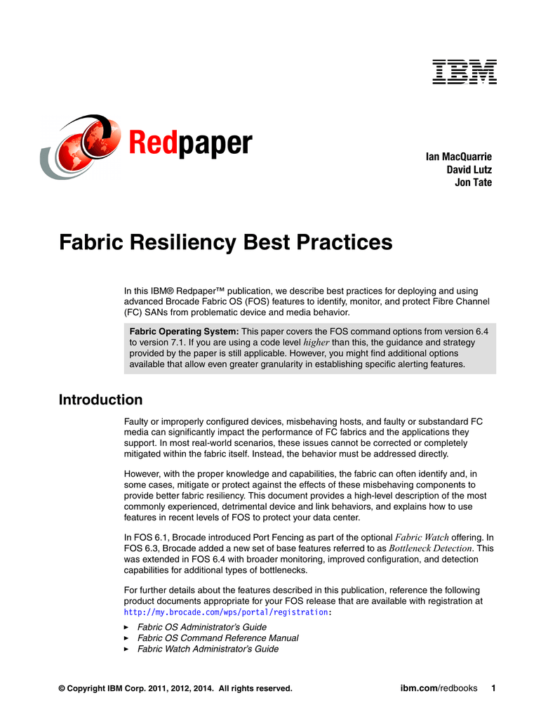 Red paper Fabric Resiliency Best Practices Ian MacQuarrie
