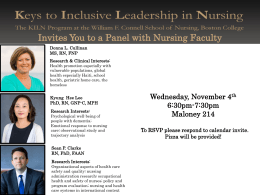 Invites You to a Panel with Nursing Faculty