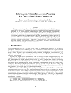 Information-Theoretic Motion Planning for Constrained Sensor Networks Daniel Levine , Brandon Luders