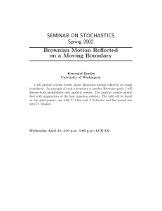 SEMINAR ON STOCHASTICS Spring 2002 Brownian Motion Reflected on a Moving Boundary
