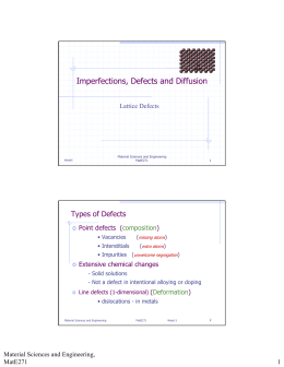 Imperfections, Defects and Diffusion Types of Defects Lattice Defects o