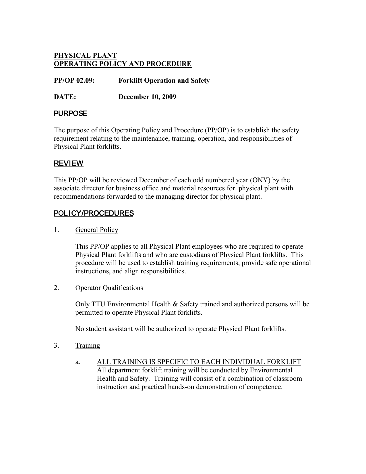 Physical Plant Operating Policy And Procedure Ppop 0209