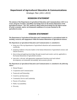 Department of Agricultural Education & Communications MISSION STATEMENT Strategic Plan (2011-2015)