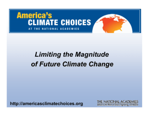Congressional Request Limiting the Magnitude of Future Climate Change