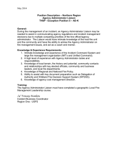 May 2014  Position Description – Northern Region Agency Administrator Liaison