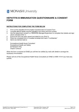 HEPATITIS B IMMUNISATION QUESTIONNAIRE & CONSENT FORM ONLY