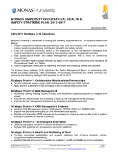 MONASH UNIVERSITY OCCUPATIONAL HEALTH & SAFETY STRATEGIC PLAN: 2015–2017