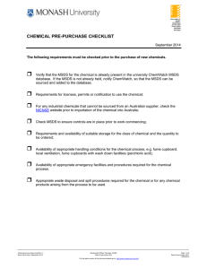   CHEMICAL PRE-PURCHASE CHECKLIST