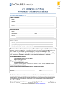 Off	campus	activities Volunteer	information	sheet SCHOOL/DEPARTMENT	OF	___________________________________________________________