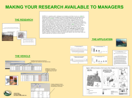 MAKING YOUR RESEARCH AVAILABLE TO MANAGERS THE RESEARCH THE APPLICATION