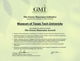 Museum of Texas Tech University The Green Museums Initiative