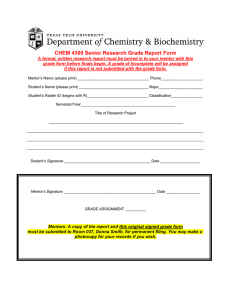 CHEM 4300 Senior Research Grade Report Form