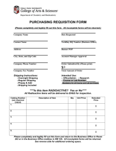 PURCHASING REQUISITION FORM