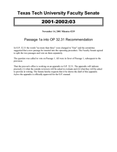 2001-2002:03 Texas Tech University Faculty Senate Passage 1a into OP 32.31 Recommendation