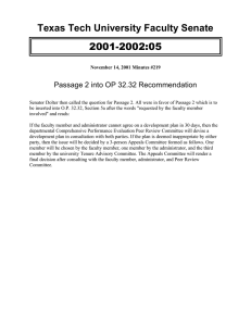2001-2002:05 Texas Tech University Faculty Senate Passage 2 into OP 32.32 Recommendation