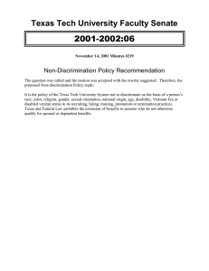 2001-2002:06 Texas Tech University Faculty Senate Non-Discrimination Policy Recommendation