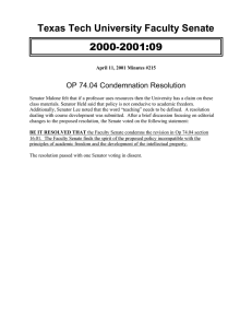 2000-2001:09 Texas Tech University Faculty Senate OP 74.04 Condemnation Resolution