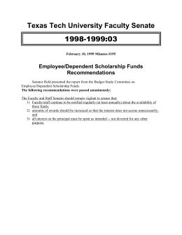 1998-1999:03 Texas Tech University Faculty Senate Employee/Dependent Scholarship Funds