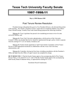 Texas Tech University Faculty Senate 1997-1998:11 Post Tenure Review Resolution