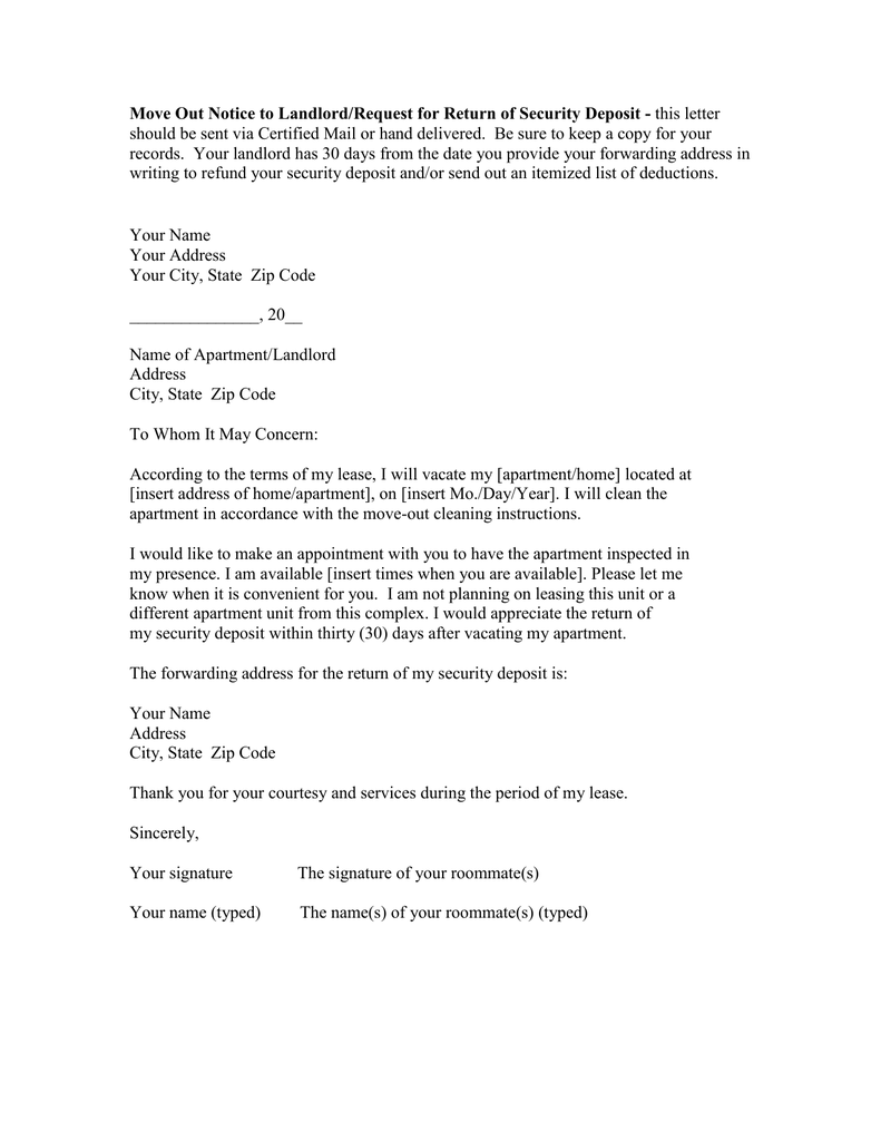 Move Out Notice to Landlord/Request for Return of Security Deposit ...