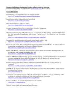Resources for Graduate Students and Postdocs on Careers and Job... General Information Compiled in April 2005 by Karen Muskavitch (