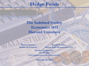 Hedge Funds The Indebted Society Economics 1813 Harvard University