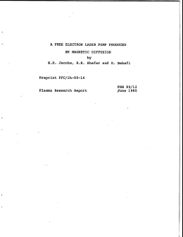 K.D. PFC/JA-8 0-14 Plasma  Research Report 1980