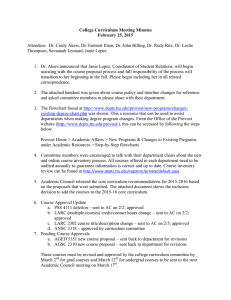 College Curriculum Meeting Minutes February 25, 2015