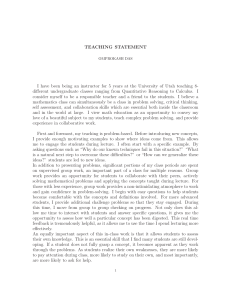 TEACHING STATEMENT