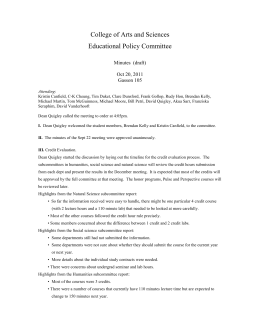 College of Arts and Sciences Educational Policy Committee  Minutes  (draft)