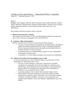 College of Arts and Sciences – Educational Policy Committee