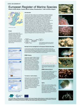 European Register of Marine Species Introduction
