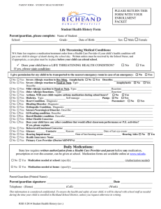  Student Health History Form Parent/guardian, please complete: