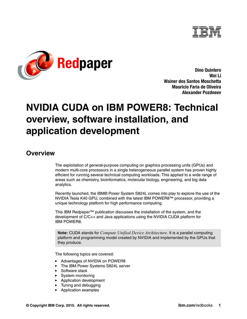 Red paper NVIDIA CUDA on IBM POWER8: Technical overview