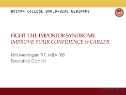 FIGHT THE IMPOSTOR SYNDROME IMPROVE YOUR CONFIDENCE & CAREER Executive Coach