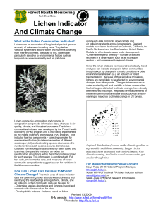Lichen Indicator And Climate Change Forest Health Monitoring