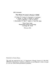 First Ohmic H-modes  in Alcator  C-MOD PFC/JA-94-02 78ET51013. by